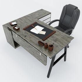 SFAC004- Bàn giám đốc gỗ cao su chân sắt chữ A gác tủ