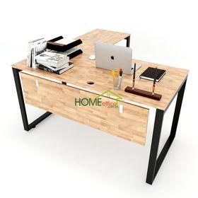 SFRT003 - Bàn làm việc gỗ cao su chữ L chân sắt lắp ráp
