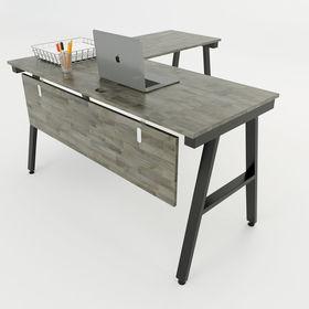 SFAC003 - Bàn góc chữ L gỗ cao su chân sắt chữ A