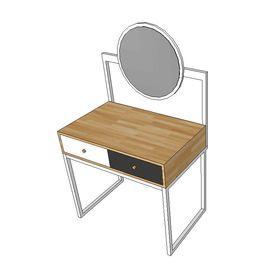 Bàn trang điểm gỗ cao su khung chân sắt gương tròn SFBTD003