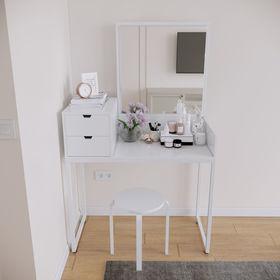 Bàn trang điêmg gỗ cao su sơn trắng SFBTD015
