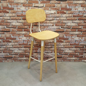 Ghế cafe gỗ cao su chân cao có tựa lưng