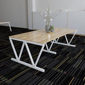 SFVC010 - Bàn họp gỗ cao su hệ 3 chân sắt chữ V