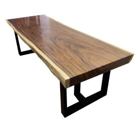 SFMT020 - Bàn gỗ Me Tây 90x250cm dày 10cm chân sắt