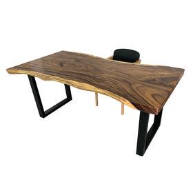 SFMT021 - Bàn gỗ Me Tây 80x180cm dày 7cm chân sắt