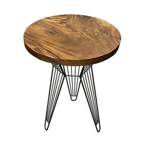 SFMT001 - Bàn cafe gỗ me tây tròn 60cm dày 5cm chân sắt