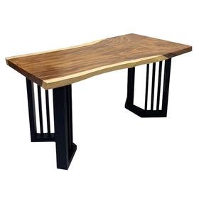 SFMT018 - Bàn gỗ Me Tây 70x140cm dày 5cm chân sắt
