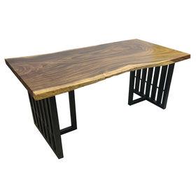SFMT019 - Bàn gỗ Me Tây 80x160cm dày 5cm chân sắt