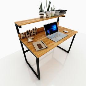 SFBK008- Bàn làm việc kết hợp kệ trên bàn khung sắt gỗ cao su