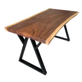 SFMT011 - Bàn gỗ Me Tây 80x160cm dày 5cm chân sắt W