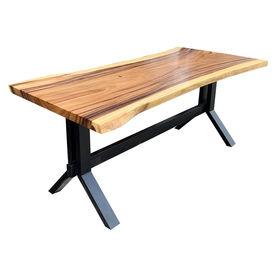 SFMT013 - Bàn gỗ Me Tây 80x160cm dày 5cm chân sắt lớn