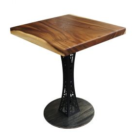 SFMT010 - Bàn cafe gỗ me tây VUÔNG 60cm dày 5cm chân sắt hoa văn