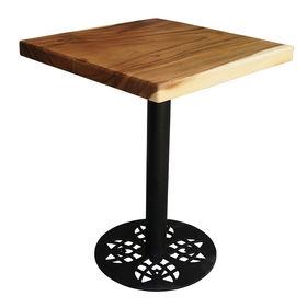 SFMT008 - Bàn cafe gỗ me tây VUÔNG 60cm dày 5cm chân sắt đế tròn hoa văn