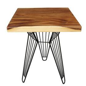SFMT005 - Bàn cafe gỗ me tây VUÔNG 60cm dày 5cm chân sắt