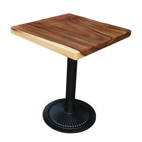 SFMT009 - Bàn cafe gỗ me tây VUÔNG 60cm dày 5cm chân sắt đế gang đúc