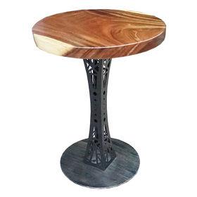SFMT003 - Bàn cafe gỗ me tây tròn 60cm dày 5cm chân sắt hoa văn