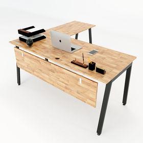 SFAT003 - Bàn góc chữ L gỗ cao su chân sắt Aton