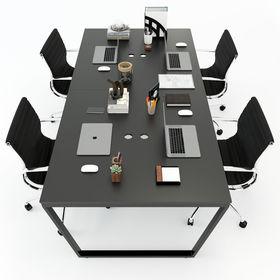 SFTC006 - Bàn cụm 4 chỗ ngồi gỗ cao su chân sắt hinh thang cân