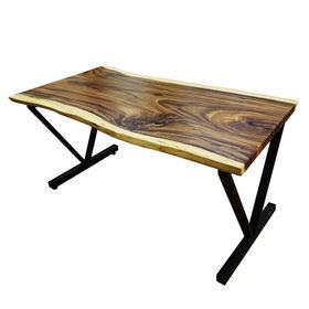 SFMT012 - Bàn gỗ Me Tây 80x160cm dày 5cm chân sắt chữ V