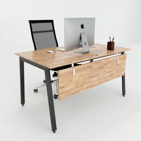 SFAT002 - Bàn làm việc giám đốc gỗ cao su chân sắt chữ Aton