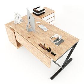 SFVC004- Bàn giám đốc gỗ cao su chân sắt chữ V gác tủ