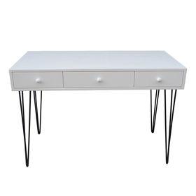 SFBHK002- Bàn 3 hộc kéo gỗ cao su sơn trắng chân Hairpin (60x120x75cm)