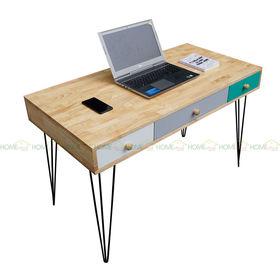 SFBHK004- Bàn 3 hộc kéo gỗ cao su màu tự nhiên chân Hairpin (60x120x75cm)