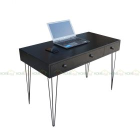 SFBHK003- Bàn 3 hộc kéo gỗ cao su sơn Đen chân Hairpin (60x120x75cm)