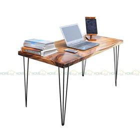SFMT015 - Bàn gỗ Me Tây 70x140cm dày 5cm chân sắt Hairpin