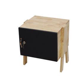 SFTDG002- Tủ đầu giường Mini gỗ cao su 1 cánh ĐEN chân chữ A