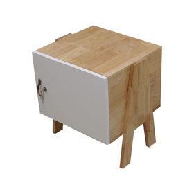 SFTDG001- Tủ đầu giường Mini gỗ cao su 1 cánh trắng chân chữ A