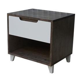 SFTDG005- Tủ đầu giường 1 ngăn kéo gỗ cao su màu nâu cửa trắng (50x40x48cm)