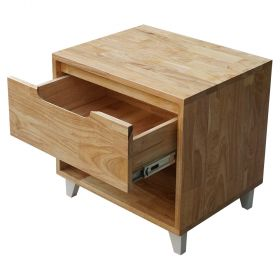 SFTDG004- Tủ đầu giường 1 ngăn kéo gỗ cao su chân nhôm (50x40x48cm)