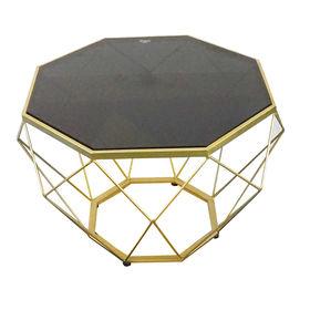 SFBT020 - Bàn Sofa Dimond khung màu vàng đồng mặt kính đen