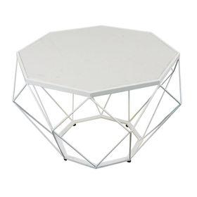 SFBT026- Bàn Sofa Dimond khung trắng mặt đá trắng