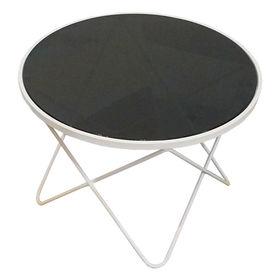 SFBT014 - Bàn Sofa 4 chân chữ V sơn trắng kính đen