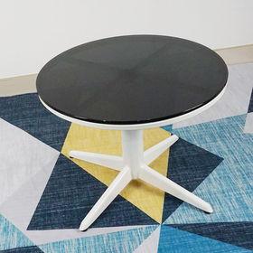 SFBT012- Bàn Sofa chân trụ tròn chia 4 sơn trắng mặt kính đen
