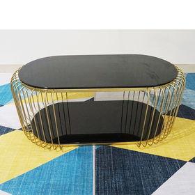 SFBT017 - Bàn Sofa 2 tầng khung sắt vàng đồng mặt kính đen