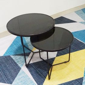 SFBT011- Bộ 2 bàn Sofa chân tia chớp sơn đen mặt kính đen
