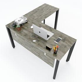 SFTA003 - Bàn làm việc chữ L gỗ cao su chân sắt tam giác