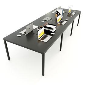 SFUC007 - Bàn làm việc cụm 6 chỗ ngồi gỗ cao su chân sắt chữ U