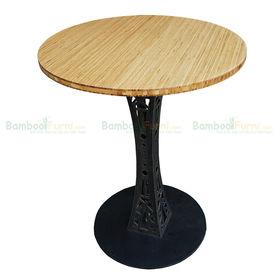 SFBCF004- Bàn Cafe gỗ Tre Ép tròn 60cm chân sắt hoa văn