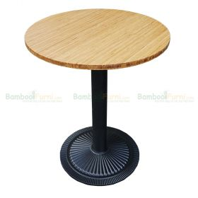 SFBCF006 - Bàn Cafe gỗ TRE ÉP tròn 60cm chân sắt đế gang