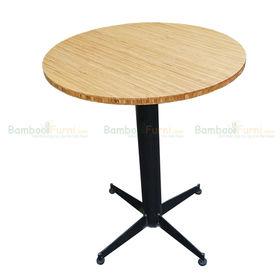 SFBCF008- Bàn cafe gỗ TRE ÉP tròn 60cm chân sắt tròn đế chữ thập