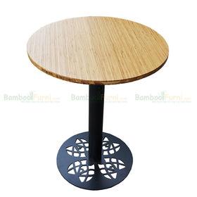 SFBCF010- Bàn cafe gỗ TRE ÉP tròn 60cm chân sắt đế hoa văn