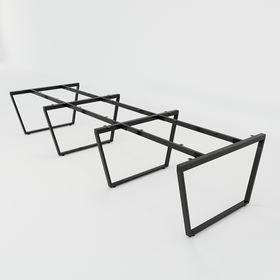 SFTC123 - Chân bàn cụm 6 chỗ sắt 25x50 lắp ráp hình thang cân