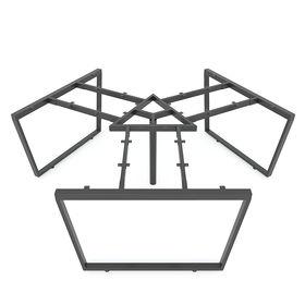 SFTC121 - Chân bàn cụm 3 chỗ sắt 25x50 lắp ráp hình thang cân