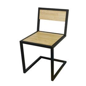 GCF007 - Ghế cafe chân sắt gỗ cao su đơn giản