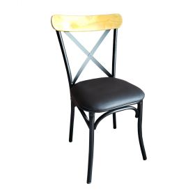 GCF001 - Ghế Cafe, ghế ăn khung sắt gỗ đít nệm đen
