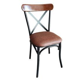 GCF002 - Ghế Cafe, ghế ăn khung sắt gỗ đít nệm màu nâu